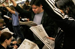 Commuters on the subway in NYC